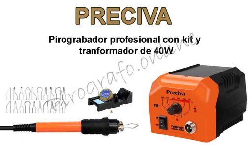 PRECIVA pirografo profesional con kit y tranformador de 40 W
