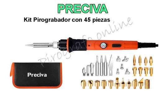 Preciva kit pirograbador con 45 piezas con regulador de temperatura